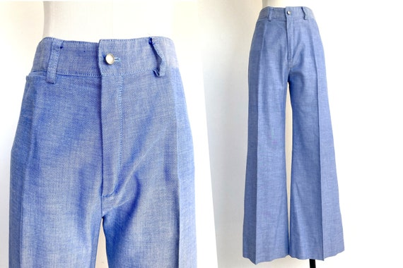 70s cowgirl set / high waist flares / light denim… - image 4