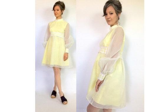 late 60s lemon meringue dream dress / sheer / laye