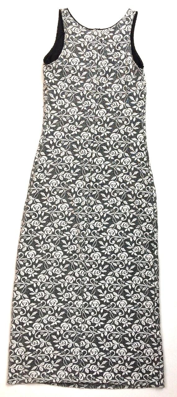 90s stretchy maxi / tube tank dress long / white … - image 9