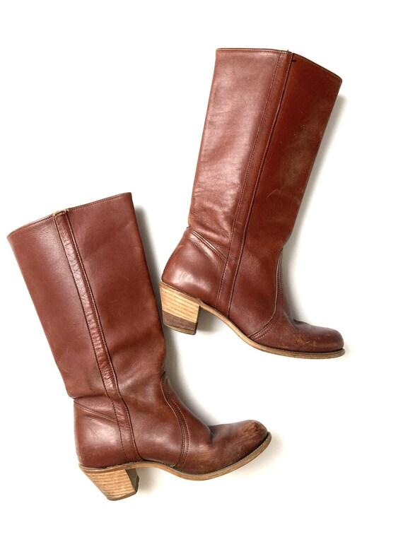 70s knee boots / low heel / campus boots /  8 M