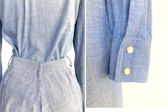 70s cowgirl set / high waist flares / light denim… - image 8