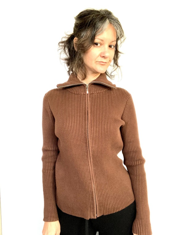 90s thick ribbed cardigan / zip up / brown / sweat