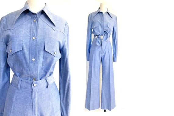 70s cowgirl set / high waist flares / light denim… - image 1
