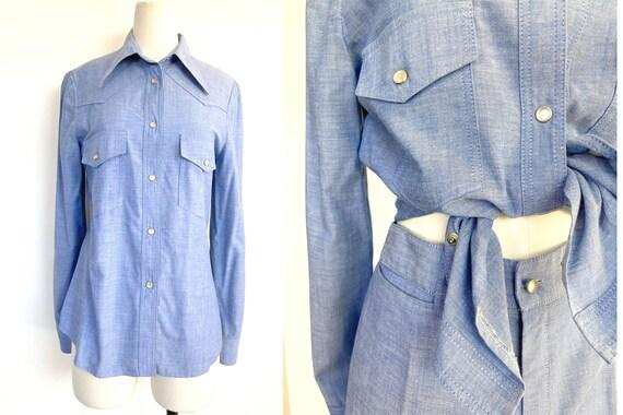 70s cowgirl set / high waist flares / light denim… - image 3