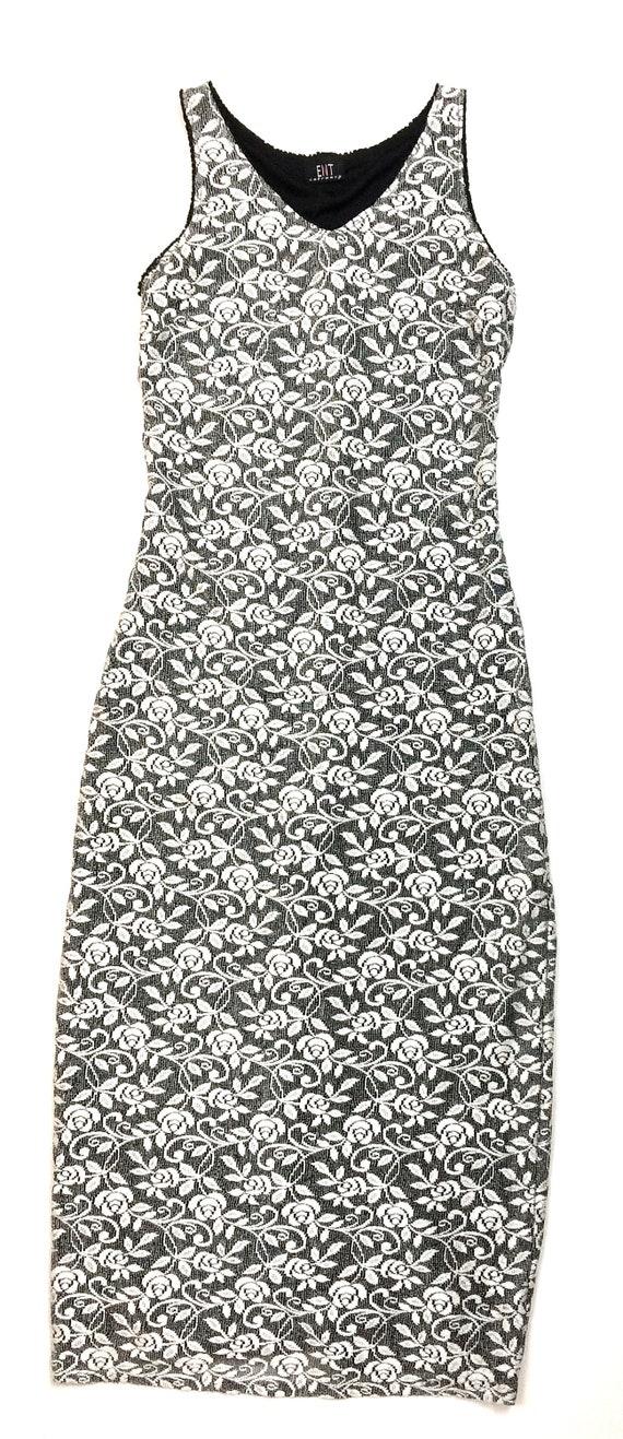 90s stretchy maxi / tube tank dress long / white … - image 4