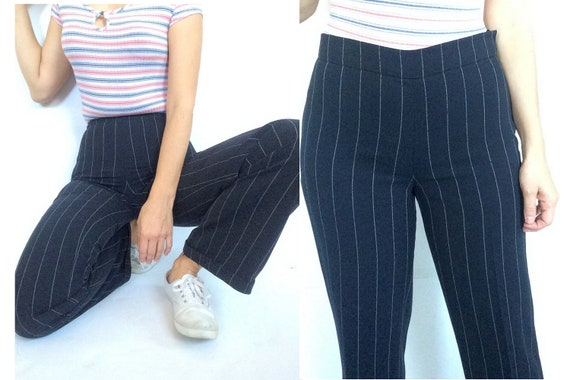 90s pinstripe pants / cuffs / mid waist / side zip