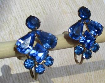 Coro Pegasus Box Blue Rhinestone Screw Back Earrings 50s Blue Rhinestone Earrings Coro Earrings