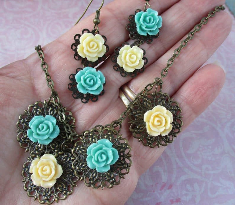 Vintage Rose necklace and earrings peach blue rose jewelry filigree one of a kind OOAK feminine flowers floral wedding gift