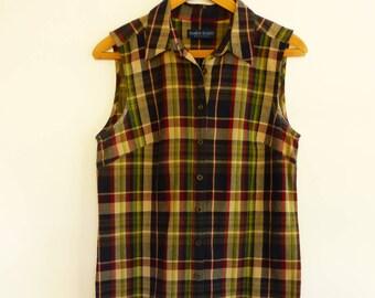 762efb95ab33 VTG 1980s PREPPY Madras Plaid Sheath Dress S M