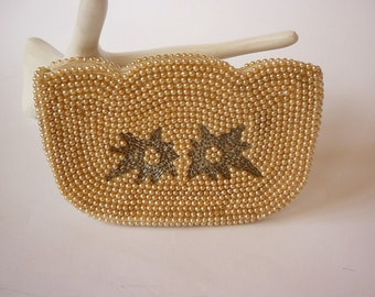 VTG 1950s Beaded Pearl Evening Bag Small Clutch Wedding Bridal Prom Cocktail 15f936cd1c9bd