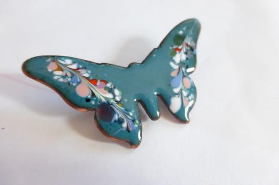 1960s Butterfly Pin Teal Blue Enamel on Copper Psy