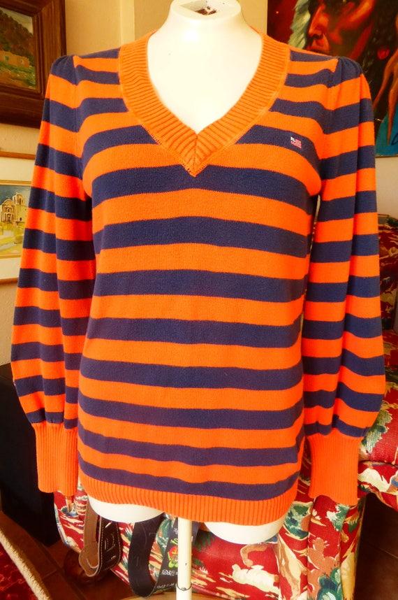 c393da6d83 Vtg Ralph Lauren Polo Jeans Co V-Neck Pullover Sweater STRIPES | Etsy