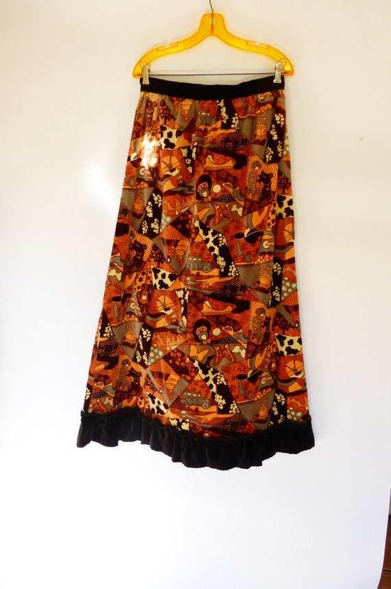 1970s Maxi Skirt Velvety Brushed Corduroy Psychede