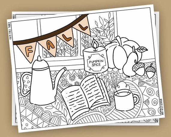 Adult coloring pages for fall kids fall activities printable