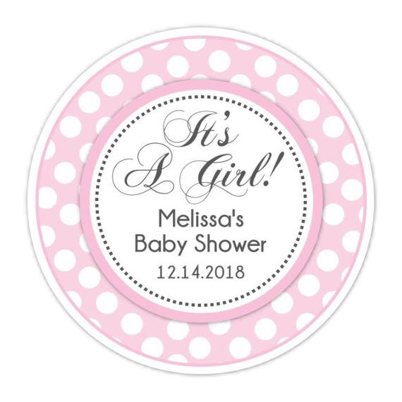 Pink Polka Dot Baby Shower Stickers Custom Personalized For Etsy