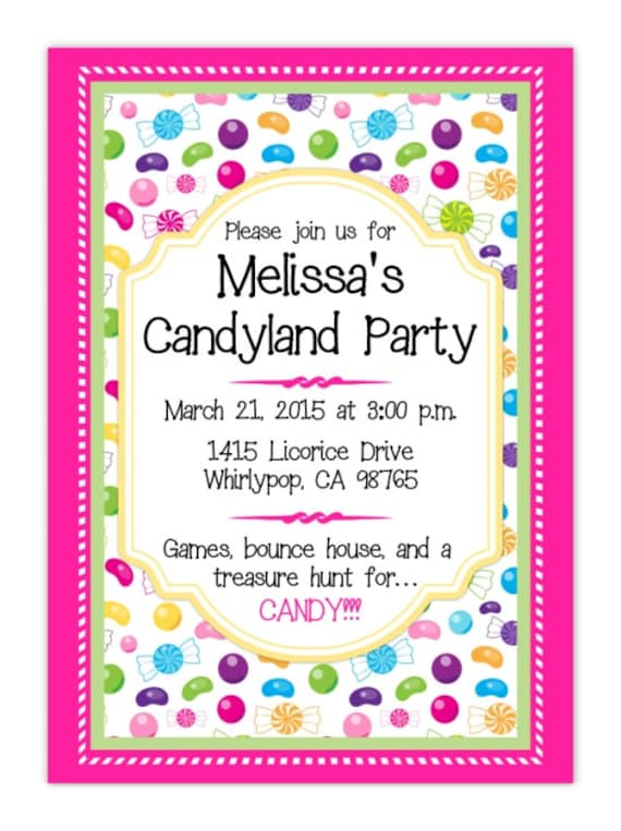 Candy Land Party Invitation Candyland Invite Candy Land Etsy