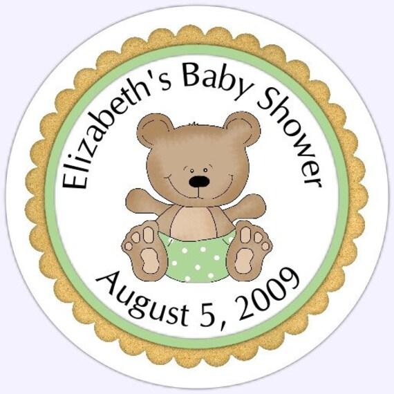 Baby Bear Baby Shower Stickers Green Teddy Bear Baby Shower Etsy