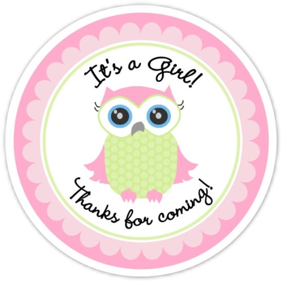 Pink Owl Baby Shower Labels Baby Owl Custom Stickers Baby Etsy