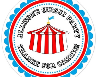 36 Circus Birthday Labels, Personalized Circus Stickers, Birthday Decoration, Carnival Favors, Circus Party Favors