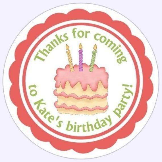 Custom Birthday Party Labels Cuke Birthday Cake Stickers Etsy