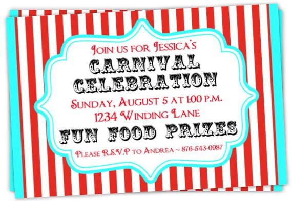 Carnival Birthday Invitation Circus Invitations
