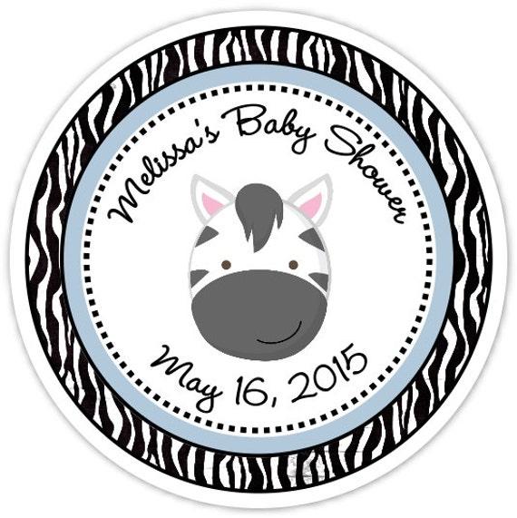 Zebra Baby Shower Stickers Zebra Custom Baby Shower Labels Etsy