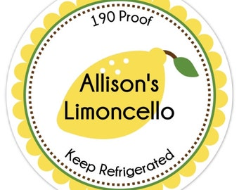 Limoncello Labels, From the Kitchen or Made For You Labels, Stickers - Personalized for YOU