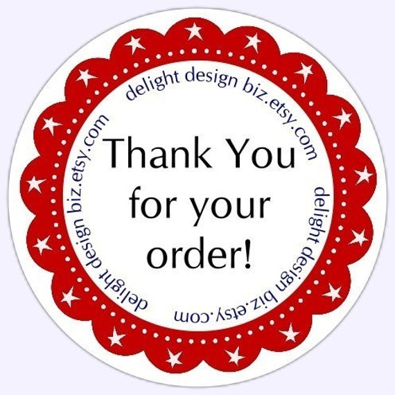 Thank you stickers business labels customer appreciation labels logo labels 2 inch round or 2 5 inch round