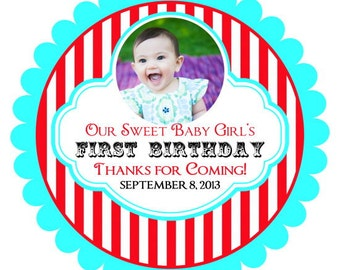 Carnival Birthday Labels with Photo, Personalized Circus Stickers with picture, Birthday Decoration, Carnival Favors, Circus Party Favors