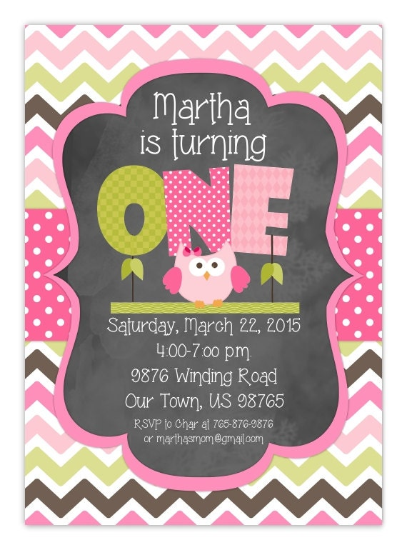 Owl First Birthday Invitation Custom Design For YOU