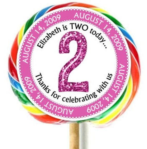 2nd Birthday Stickers Lollipop Stickers Second Birthday