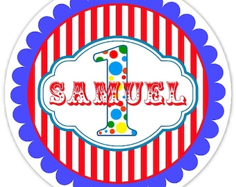 Carnival Birthday Labels, First Birthday Personalized Circus Stickers, 1st Birthday Decoration, Carnival Favors, Circus Party Favors