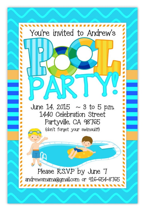 Pool Party Invitation Boys Invite Birthday