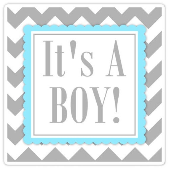 Baby Shower Labels Chevron It S A Boy Stickers 2 Inch Etsy