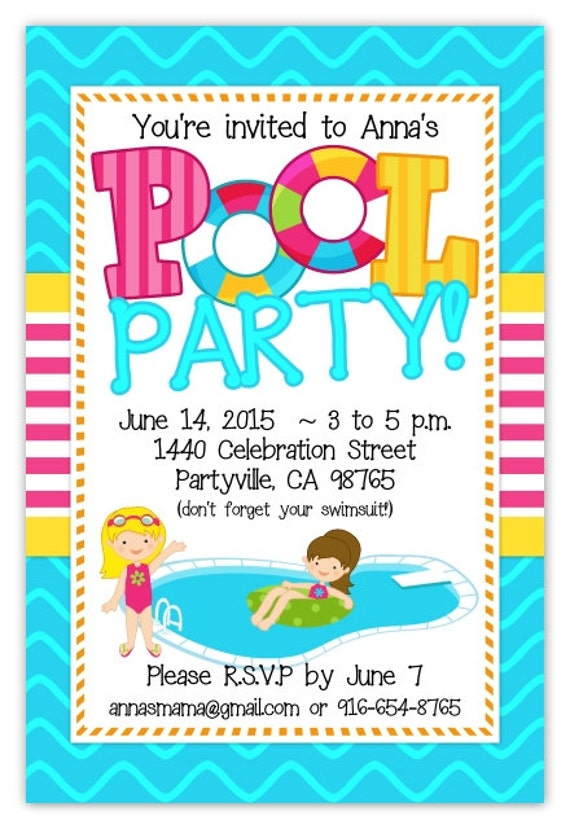 Pool Party Invitation Invite Birthday