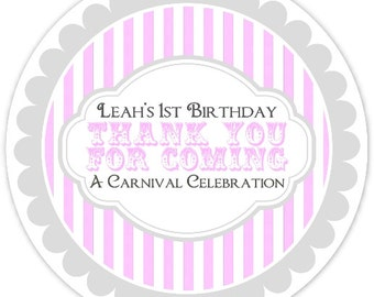 Carnival Birthday Labels, Pink and Gray Circus, Personalized Circus Stickers, Birthday Decoration, Carnival Favors, Circus Party Favors