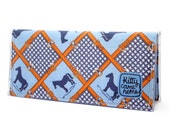 Bi-fold Clutch -  Horses and belt buckles grid vintage fabric