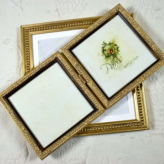 5x5 Or 4x6 Inch Pale Gold Hinged Double Etsy