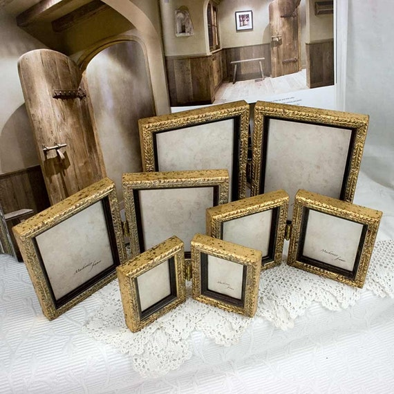 5x7 Inch Pale Gold Hinged Double Frame For Two Vertical Etsy