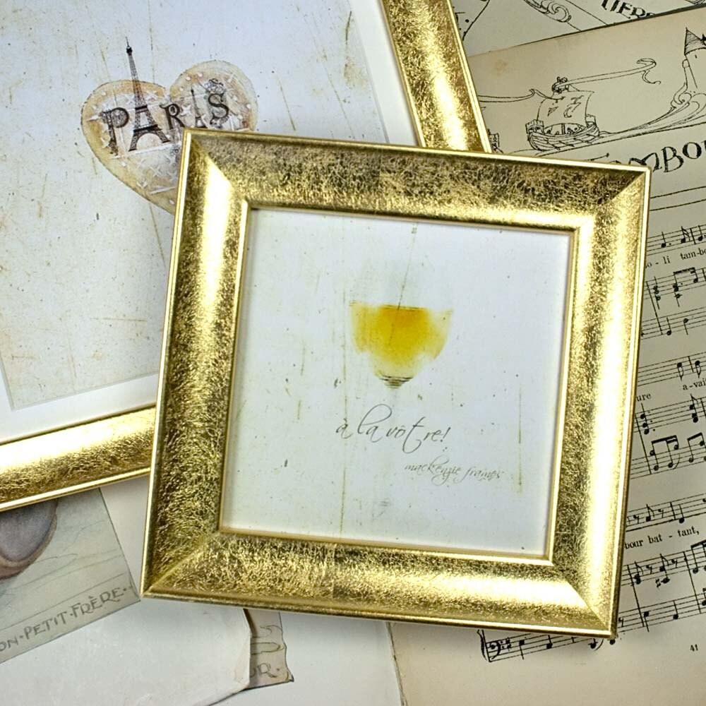5 x 5 Zoll glatt Gold Bilderrahmen mit einem zarten mattierte