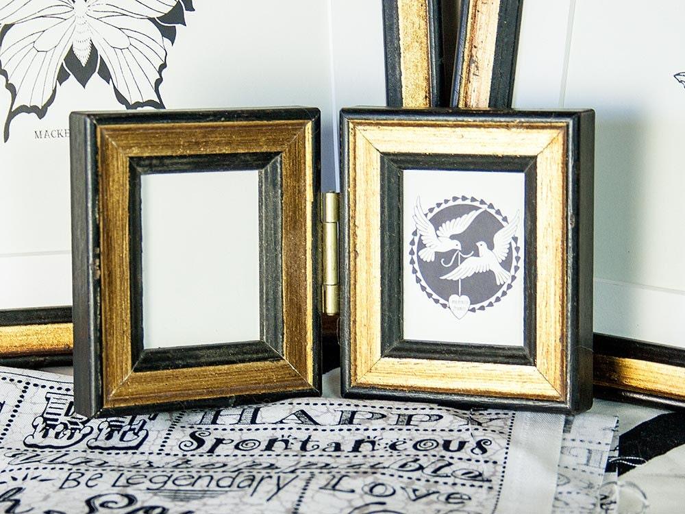 Mini-Größe aufklappbar schmalen Bilderrahmen in Antik schwarz