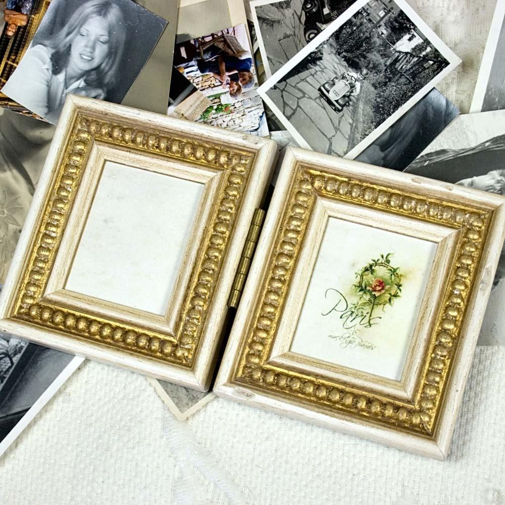 Mini-Größe aufklappbaren Doppel-Rahmen weiß und Gold antik   Etsy