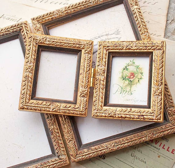 Mini Gold Hinged Double Frame Ideal Wedding/Bride Groom/Bridesmaids ...