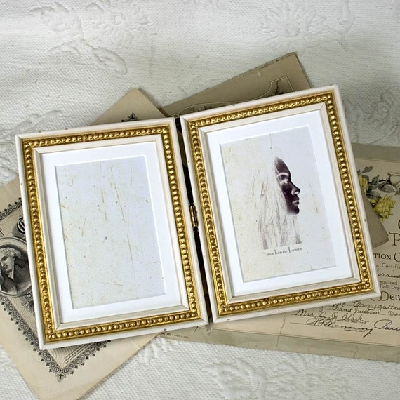 Hinged Double 5x7 inch White and Gold Frames Antique Shabby Look/Office  Desktop/Bridesmaids/Wedding Gift Photo Frames 5x7 inches