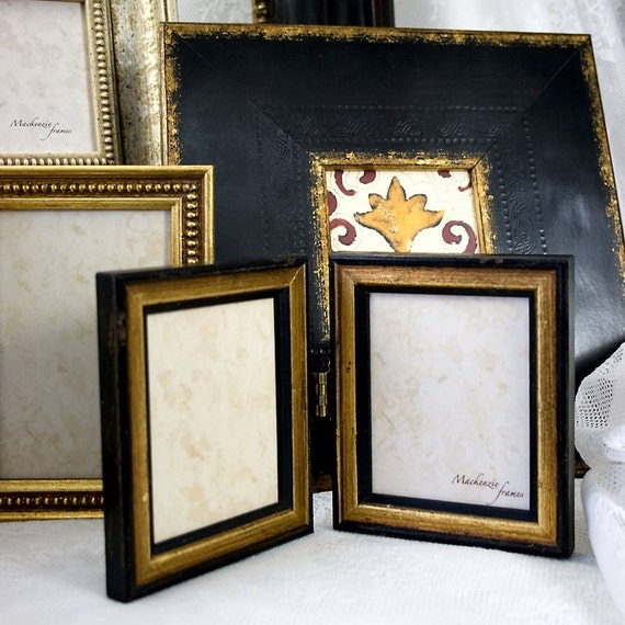 4x6 Inch Hinged Double Photo Frame In Antiqued Black And Gold Etsy