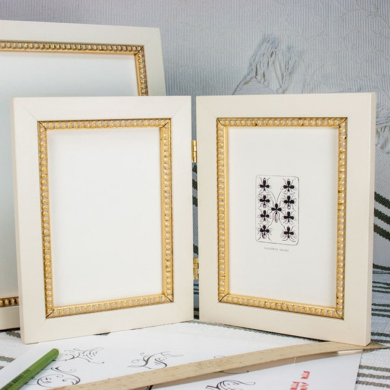 Hinged Double Frame 5x7 Inch Waxed White With Inner Gold Boule Etsy