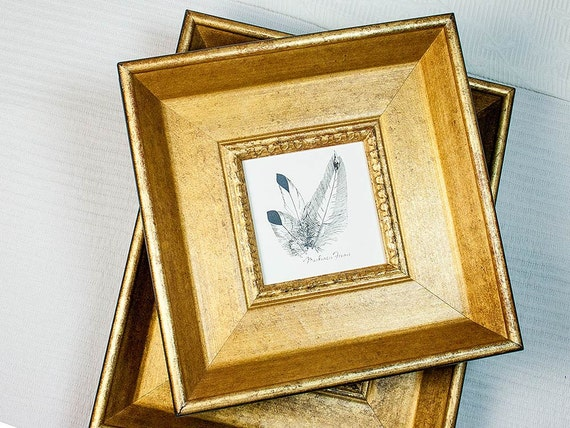 Small Square Deluxe Old Gold Frame Photos Or Miniatures Etsy