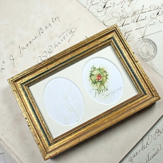 Double Oval Mat Gold Photo Frame Wax-Polished Patina Good for   Etsy
