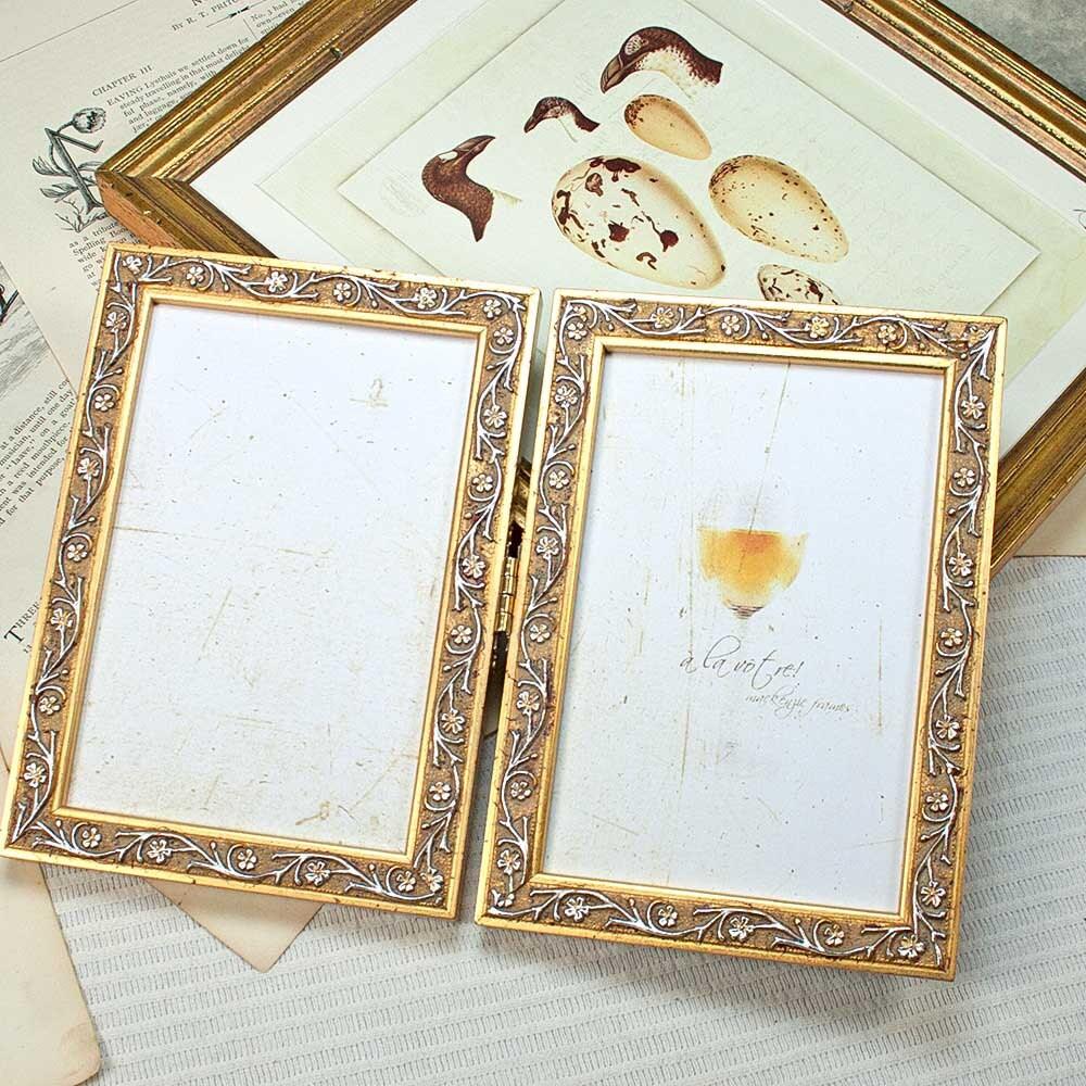 5 x 7 pulgadas adorno estrecho marco doble con bisagras oro