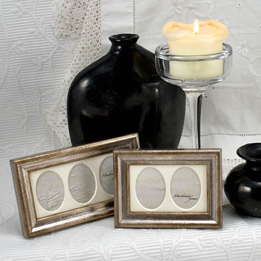 Doppelt und dreifach Mini Oval Deluxe Silber Bilderrahmen